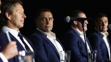 Resilient: Shane Flanagan looks on during the NRL grand final press conference at the Sydney Opera House.