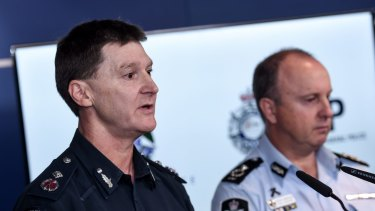 Victoria Police Deputy Commissioner Shane Patton (left) and AFP Assistant Commissioner Neil Gaughan speak about the five men who were apprehended in Cairns.