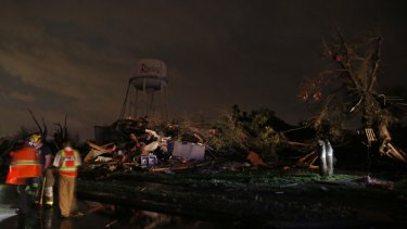 Tornadoes swept through the Dallas area after dark on Saturday evening causing significant damage.