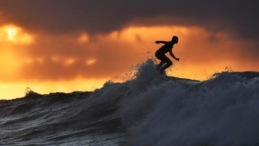 Riding high in an early morning surf session at Bells beach in Victoria in April.