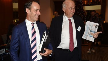 Ten CEO Paul Anderson, left, and director Jack Cowin arrive at the annual meeting in Sydney on Wednesday.