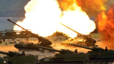 North Korean tanks took part in a live-fire drill on Wednesday.