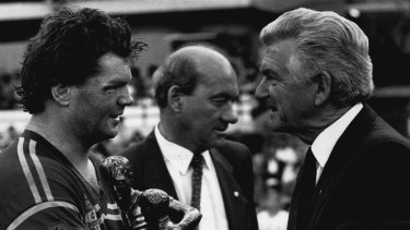 Spiritual home: Manly captain Paul Vautin accepts the trophy from Prime Minister Bob Hawke when the rugby league grand final was last held at the SCG in 1987.