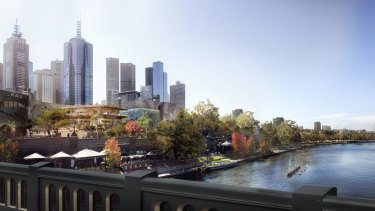 The view of the store and Federation Square from Princes Bridge.