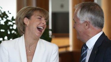 Malcolm Turnbull with Senator Michaelia Cash, before the reshuffle