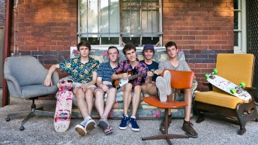 Marrickville flatmates Arlo Alexander-Meylan, Harry Gregg, Nikita Podlasov, Tom Grimes and Isaac Ewald filled their share house with furniture collected at curbside pickup and transported home on their skateboards.