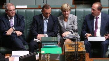 The touted four: Scott Morrison, Tony Abbott, Julie Bishop and Peter Dutton.