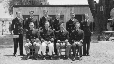German navy officers from the Kormoran at Dhurringile Mansion, in February 1943. Captain Theodor Detmers, front row, second from the left