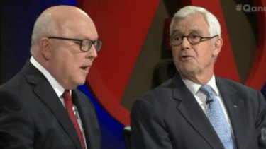 George Brandis spars with Julian Burnside, QC, about refugees.