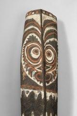 Wooden war shield from the Upper Sepik River region,  Papua New Guinea.