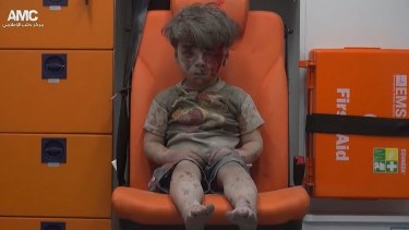 Omran Daqneesh, 5, was rescued from rubble after an airstrike on Aleppo.