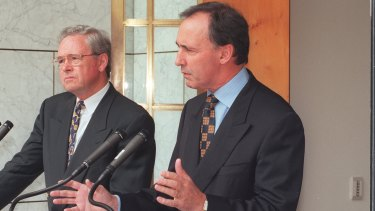 Paul Keating (right) introduced dividend imputation.