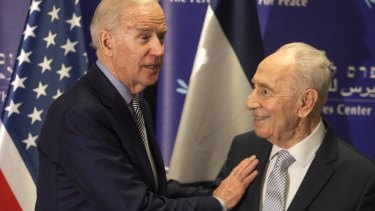 Former Israeli president Shimon Peres, right, and US Vice-President Joe Biden during their meeting at the Peres Centre for Peace in Jaffa.