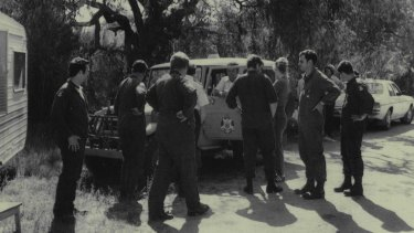 December 1980: Victoria Police at search HQ during the hunt for clues at the site in Tynong North where three female bodies were discovered.