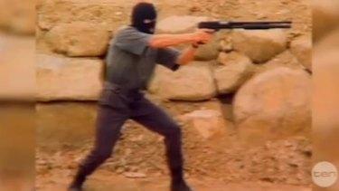 Nigel Parodi shooting wildly.