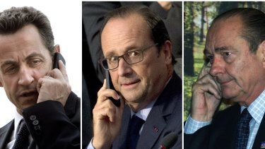 Spied on: Former French presidents Nicolas Sarkozy (left) and Jacques Chirac (right) and current president Francois Hollande (centre).