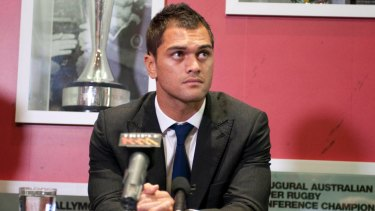 Punishment: Karmichael Hunt was fined $30,000 by the ARU and suspended for six weeks after pleading guilty to cocaine possession.