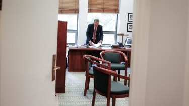 Former treasurer Wayne Swan in his office at Parliament House in Canberra.