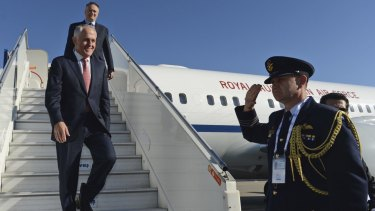 Touching down: Prime Minister Malcolm Turnbull arrives in Antalya, Turkey for the G20 summit last weekend.