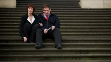 """Damian and Rae Panlock on the steps of the Victorian Parliament after the passing of """"Brodies Law"""" in 2011."""
