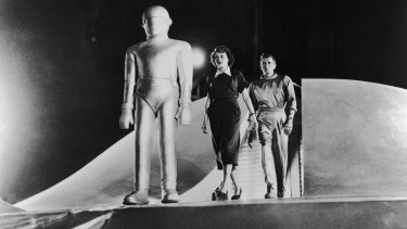 (1951). Directed by Robert Wise and starring Gort the Robot, Helen Benson (Patricia Neal) and Klaatu (Michael Rennie).