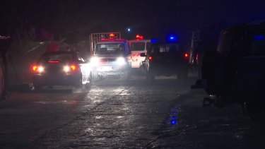 Ambulances and security forces near the scene of an explosion in Kabul, on Thursday.
