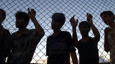 Asylum-seekers on their first day in Nauru.