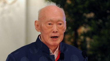 Elder statesman Lee Kuan Yew attends the launch of his book in August 2013.