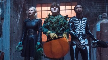 Madison Iseman, Jeremy Ray Taylor and Caleel Harris star in Columbia Pictures' Goosebumps 2 Haunted Halloween.