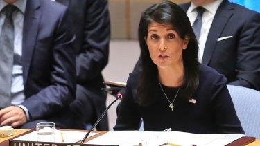 US Ambassador to the UN Nikki Haley addresses a UN Security Council meeting about North Korea.