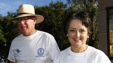 NSW Governor David Hurley and Minister for the Prevention of Domestic Violence and Sexual Assault Pru Goward on White Ribbon day last year.