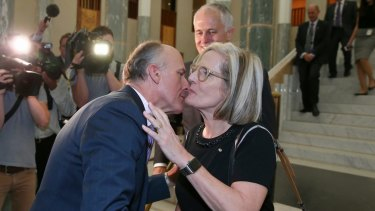 Senator Eric Abetz greets Prime Minister Malcolm Turnbull and Lucy Turnbull last week.