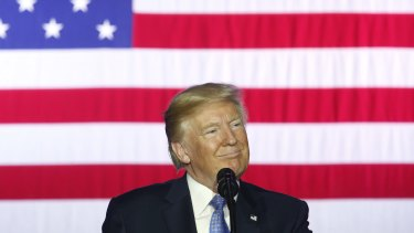 US President Donald Trump smiles during an event to discuss his tax reform plan.