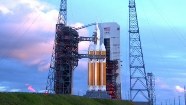 Delayed until Friday: The Orion sits atop a Delta IV Heavy rocket at Cape Canaveral Air Force Station's Space Launch Complex Flight Test in Florida.