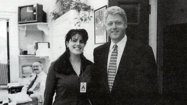 President Clinton and White House intern Monica Lewinsky. Clinton's liaison with Lewinsky started while the government was shut down.