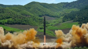 The launch of a Hwasong-14 intercontinental ballistic missile (ICBM) in North Korea's northwest.