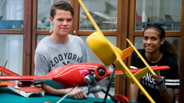 Indigenous students Liam Fogg and Layna Nona at the Aeronautical Engineering department at the University of Sydney's summer outreach camp.