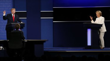 Dubious claims: Donald Trump and Hillary Clinton at the third debate.