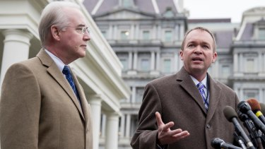 Budget Director Mick Mulvaney, right, accompanied by Health and Human Services Secretary Tom Price, discuss planned changes to healthcare.