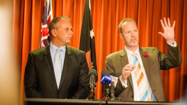 Northern Territory Chief Minister Adam Giles (left) and Jemena managing director Paul Adams. Jemena's pipeline will be smaller than envisaged when the company won the contract.