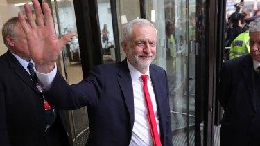 Celebrating like a winner: Jeremy Corbyn.