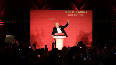 The leader of Labour, Jeremy Corbyn, speaks at a campaign rally in Islington, London on election eve.