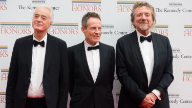 Jimmy Page, John Paul Jones, and Robert Plant of Led Zeppelin honoured at the Kennedy Centre.