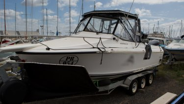 One of the boats that police allege the syndicate planned to use to meet the former whaling vessel.