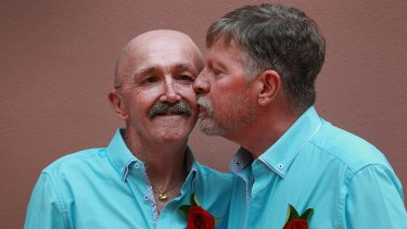 Jaime Kerr and Stephen Thompson at their civil partnership ceremony.