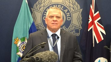 Detective Superintendent Jon Wacker of the Drug and Serious Crime Group addressing the media on Wednesday.
