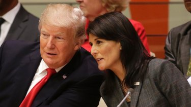 Trump, seen speaking with US Ambassador to the UN Nikki Haley before a meeting at the UN General Assembly, once again showed his capacity to suck up media oxygen.