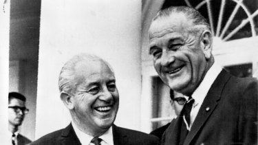 Holt with US President Johnson at the White House in July 1966: the pair enjoyed a warm friendship.