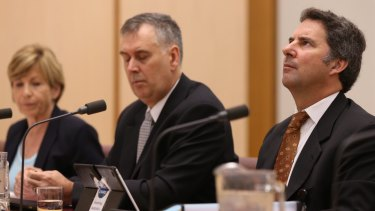 Another Senate commitee grilling to come this week for Larry Marshall CSIRO CEO (right), with his deputy Craig Roy (centre) and chief financial officer Hazel Bennett.