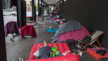 Homeless people sleeping at the top of Martin Place earlier this year.